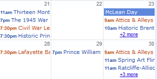 Calendar of Local History Events in Prince William... and Nearby