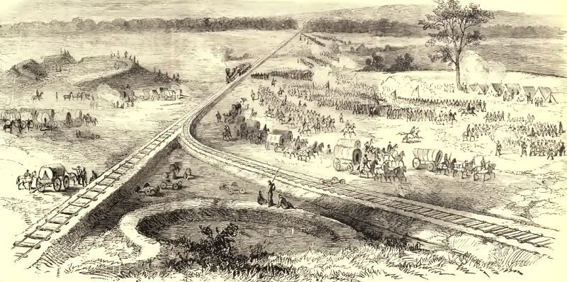 General Hooker's army marches past Manassas Junction, June 1863